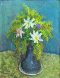 flowers in blue vase by hrandt avachian