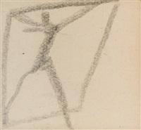 männerfigur mit erhobenen armen… by egon schiele