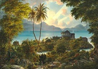 cruz bay battery on st. john with the governor's house on the point, in the background st. thomas, the former danish west indies by fritz siegfried george melbye