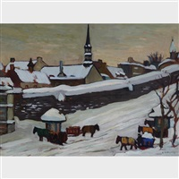 cab stand in winter, quebec city by kathleen moir morris