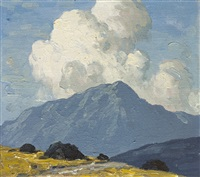 turf stacks with mountain beyond by paul henry