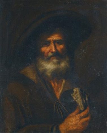an old man holding a book by pietro bellotti