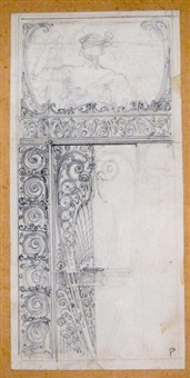 sans titre (preparatory study for stained glass) (3 works) by henri privat-livemont