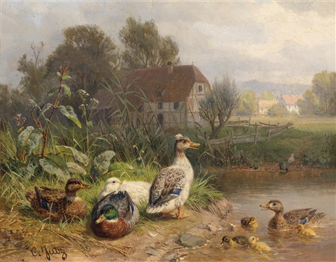 enten am teich by carl jutz the younger