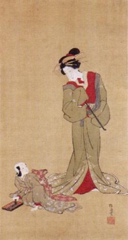 courtesan and kamuro by japanese school ukiyo e 19