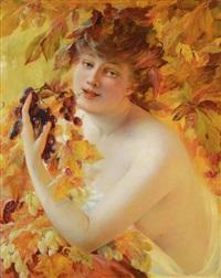 jeune femme à la grappe de raisin by albert besnard