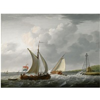 sailing vessels off the coast by jan hendrik boshamer