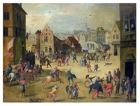 scène de carnaval dans un village des flandres by louis de caullery and joos de momper