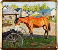 лошадь с торбой у телеги. by arnold borisovich lakhovsky