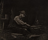 the basket-maker (norfolk), plate xv (from pictures of east anglian life) by peter henry emerson