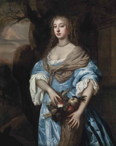 portrait of a lady of the alington family, three-quarter-length, in a blue dress and grey wrap fastened with a brooch, her hands resting on a cornucopia by sir peter lely