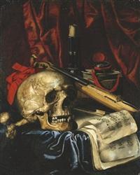 a vanitas still life by simon renard de saint-andre