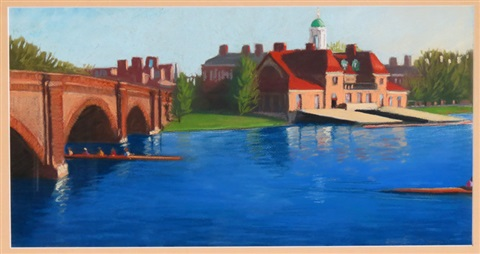 charles river eliot bridge and harvard boathouse cambridge ma by emily e young
