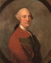 portrait of a gentleman wearing a scarlet coat by john astley