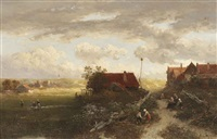 a summer landscape with villagers on a path and woman doing laundry by samuel verveer