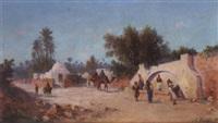 caravane arrivant à la fontaine by a. foucart