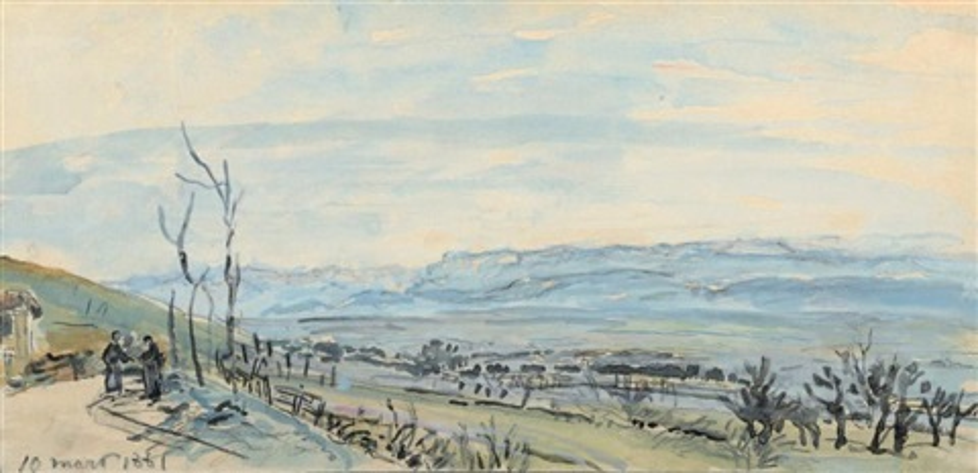 sur la route des balbins près de la côte cet hiver by johan barthold jongkind