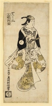 yarofu (+ another from sanpuki tsui no migi; 2 works, hosoban benizuri-e) by okumura toshinobu