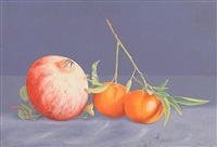 still life, pomegranate and oranges by virgilio raposo