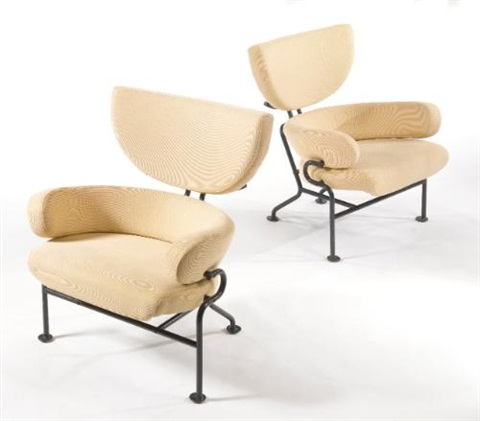 armchairs (model no. pl-19) (pair) by franco albini