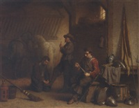 avant le depart: soldiers preparing for departure by lambertus lingeman