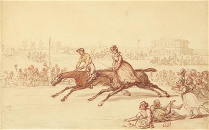 mrs. thornton riding at york by thomas rowlandson