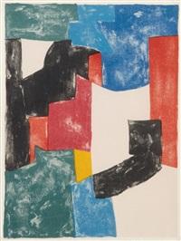 composition noir, bleu et rouge by serge poliakoff