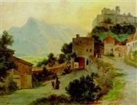 blick auf festung hohensalzburg und den untersberg by georg pezolt