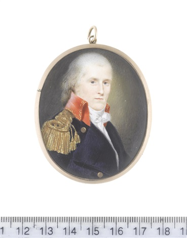 a naval officer wearing navy blue coat with brass buttons bearing anchors and red standing collar edged with gold embroidery gold epaulette white chemise stock and knotted cravat by charles willson peale