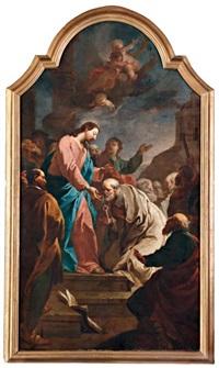 jézus átadja szent péternek az egyház kulcsait by felix ivo leicher
