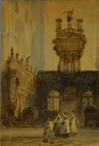 alter boys within church courtyard by johannes bosboom