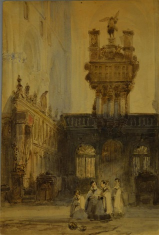 alter boys within church courtyard by johannes bosboom