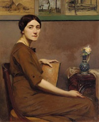 portrait of a lady artist seated in an interior, holding a drawing board by rené ernest huet