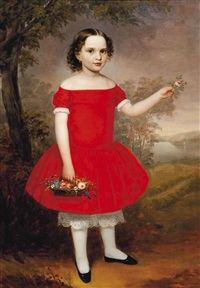 portrait of a young girl, full length, in a red dress by american school (19)