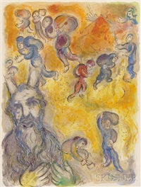moses looked upon his brethren's burdens, plate 3 from the story of exodus by marc chagall
