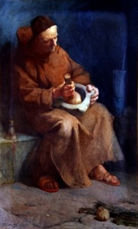 monk with pestle and mortar by frederick william davis