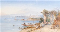 the bay of naples (+ on lake lugano; pair) by edwin st. john