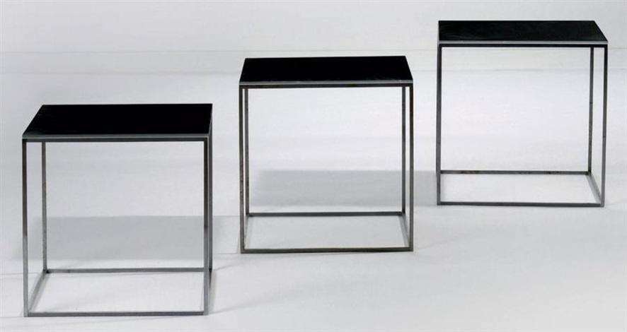 suite de trois tables gigognes modèle ekc 71 set of 3 by poul kjaerholm