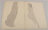 weibliche akte, z.t. erotische darstellungen (5 works, incl. 2 w/wash) by hans böhler