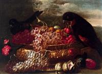stillleben mit einem getriebenen metallgefäss mit weintrauben, kirschen, feigen, pflaumen und vögeln by giuseppe vicenzino