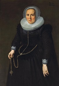 a portrait of a lady, in a black dress with an embroidered bodice, lace cuffs and collar, holding a large gold chain by thomas de keyser