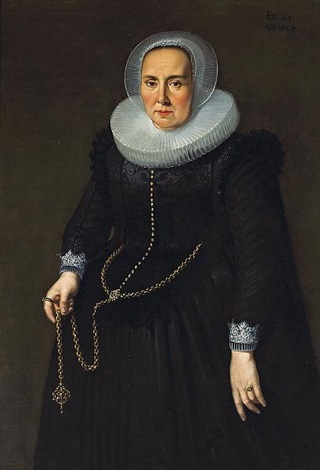 a portrait of a lady in a black dress with an embroidered bodice lace cuffs and collar holding a large gold chain by thomas de keyser