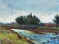 nagybánya landscape (brook zazar) by andrás mikola