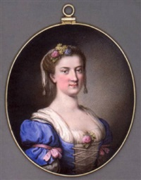 a young lady in blue dress with white underdress and laced bodice, pink bows tied around her upper arms and pink rose at corsage, flowers and a white scarf in her curled hair by giuseppe macpherson