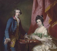portrait of william earle welby (c. 1734-1815), of denton, lincolnshire and his first wife, penelope (1737-1771), playing chess, before a draped curtain by francis cotes