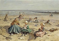 a summer's day at the beach, scheveningen by johannes evert hendrik akkeringa