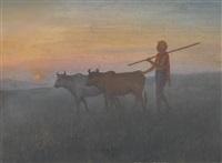 untitled (shepherd with cows) by jamini prakash gangooly