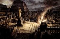 edifici classici con uomini in adorazione di una divinità by antonio basoli