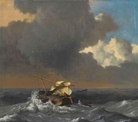 a fishing boat in a rough sea by ludolf backhuysen the elder