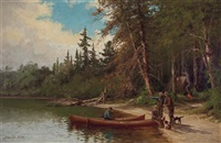 camping on the lake shore by edward hill